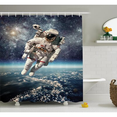 Belz Astronaut in Outer Space Shower Curtain with White Hooks Size: 69 W x 75 L