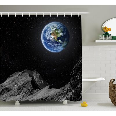 Moon Mars Planet Earth Shower Curtain Size: 69 W x 75 L