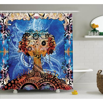 Becraft Indie Sketch Retro Decor Print Shower Curtain Size: 69 W x 70 L