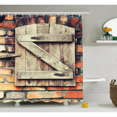 Wooden Natural Red Brick House Shower Curtain Size: 69 W x 84 L