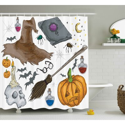 Halloween Decor Pumpkin Skull Shower Curtain Size: 69 W x 84 L
