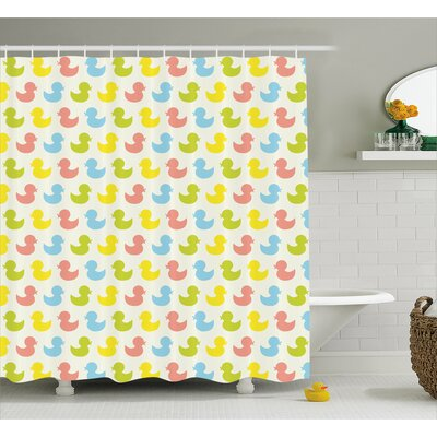 Jaleel Duck Colorful Baby Art Shower Curtain Size: 69 W x 84 L
