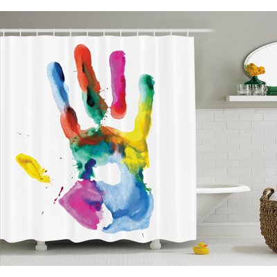 Lorraine Colored Human Hand Shower Curtain Size: 69 W x 75 L