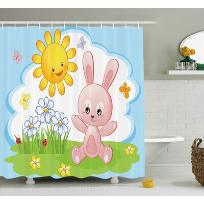 Luther Cute Rabbit in Garden Shower Curtain Size: 69 W x 75 L
