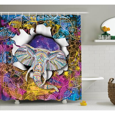 Animal Ethnic Elephant Figure Print Shower Curtain Size: 69 W x 75 L