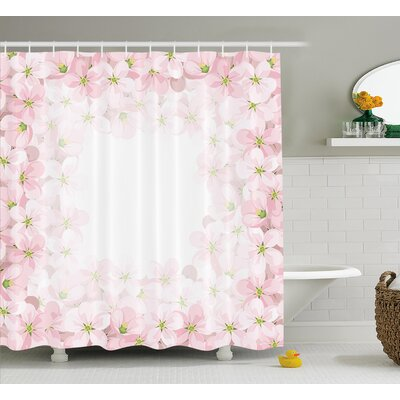 Hallie Flower Petals Blooms Shower Curtain Size: 69 W x 70 L