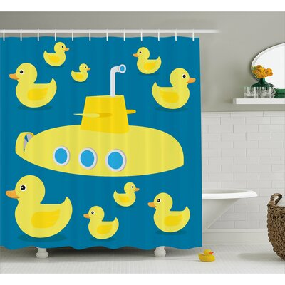 Stephen Duck Yellow Submarine Shower Curtain Size: 69 W x 84 L