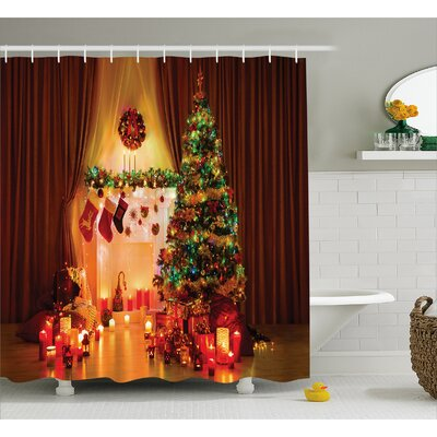 Christmas Tree Lights Gifts Shower Curtain Size: 69 W x 75 L