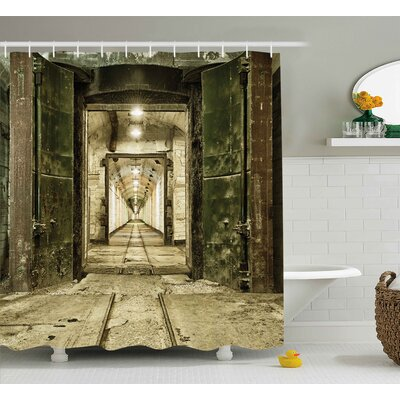 Antique Warfare Ruin Decor Shower Curtain Size: 69 W x 75 L