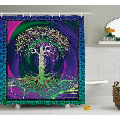 Nature Digital Psychedelic Art Print Shower Curtain Size: 69 W x 75 L