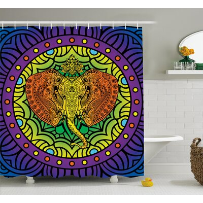 Azariah Elephant Head Mandala Print Shower Curtain Size: 69 W x 84 L