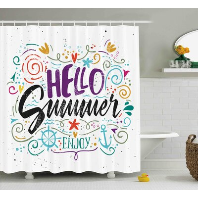 Quote Enjoy Quote with Hearts Shower Curtain Size: 69 W x 84 L