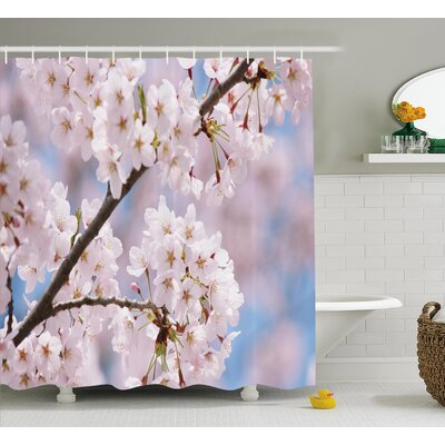Spring Floral Cherry Branches Shower Curtain Size: 69 W x 84 L