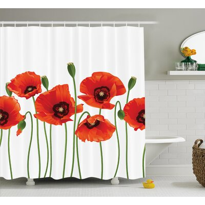 Spring Season Flowers Shower Curtain Size: 69 W x 70 L