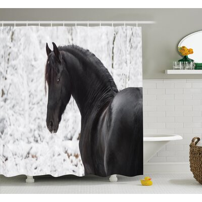 Hamilton Snowy Winter Scenery Shower Curtain Size: 69 W x 75 L