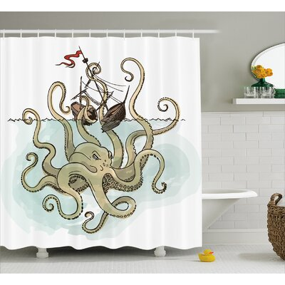 Silvia Pirate Ship Greek Myth Shower Curtain Size: 69 W x 70 L