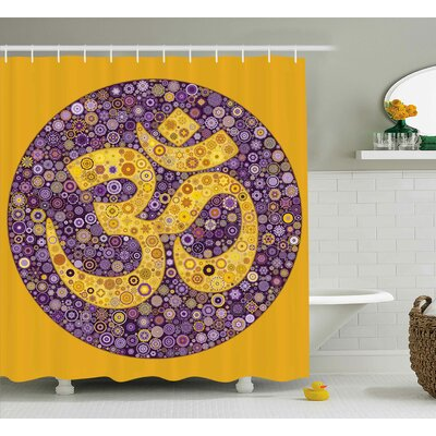 Angora Indian Flowers Design Shower Curtain Size: 69 W x 75 L