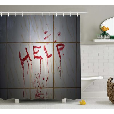 Bloody Help Note in Bathroom Shower Curtain Size: 69 W x 75 L