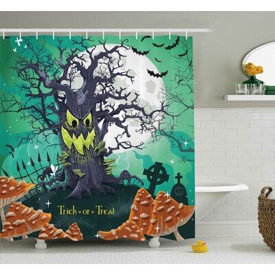Halloween Decor Spooky Tree Shower Curtain Size: 69 W x 75 L