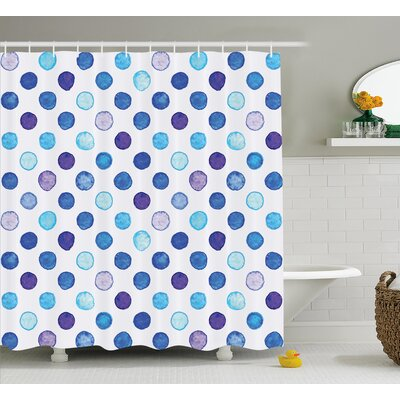 Zakary Vintage Polka Dots Shower Curtain Size: 69 W x 84 L