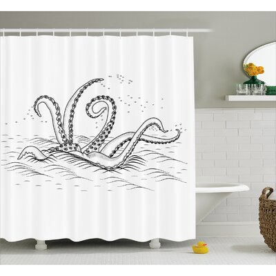 Sketchy Myth Legend Creature Shower Curtain Size: 69 W x 84 L