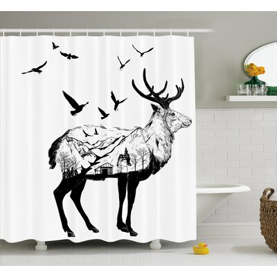 Haney Mountain and Cottage Shower Curtain Size: 69 W x 70 L