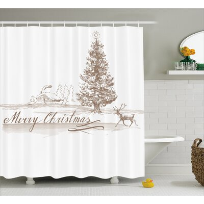 Bateson Vintage Classic Xmas Shower Curtain Size: 69 W x 70 L