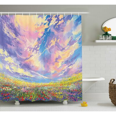 Crawford Watercolor Art Flowers Shower Curtain Size: 69 W x 75 L