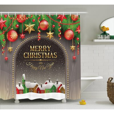 Christmas Vintage Wood Design Shower Curtain Size: 69 W x 75 L