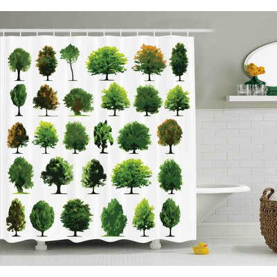 Bay Terrace Pines Planes Bushes Tree Shower Curtain Size: 69 W x 75 L