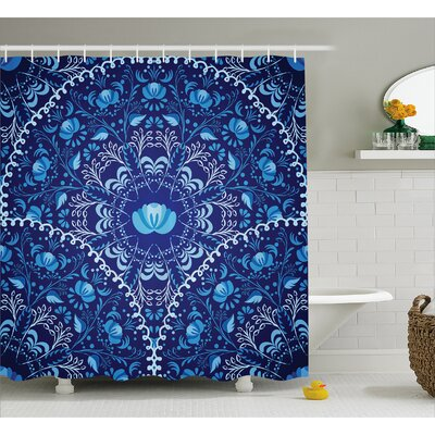 Delane Oriental Circular Decor Shower Curtain Size: 69