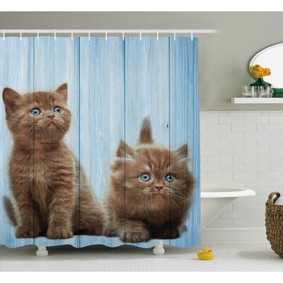 Animal Baby Kitten Best Friend Shower Curtain Size: 69 W x 75 L
