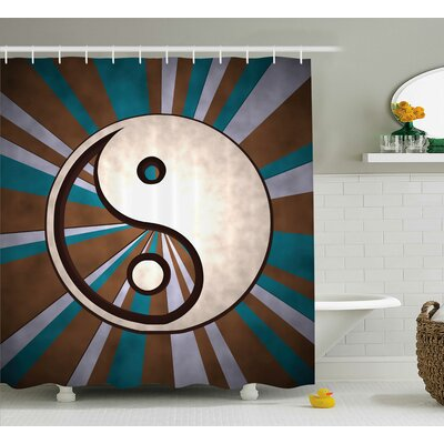 Billman Yang Decor Grungy Retro Shower Curtain Size: 69 W x 75 L