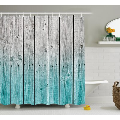Rosy Digital Wood Panels Shower Curtain Size: 69 W x 75 L