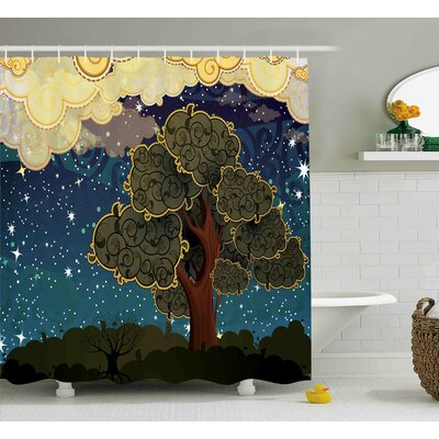 Manor Art Vibrant Starry Night Shower Curtain Size: 69 W x 75 L