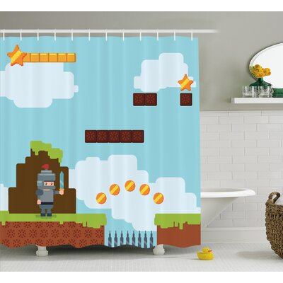Shannon Games Arcade Knight 90s Shower Curtain Size: 69 W x 75 L