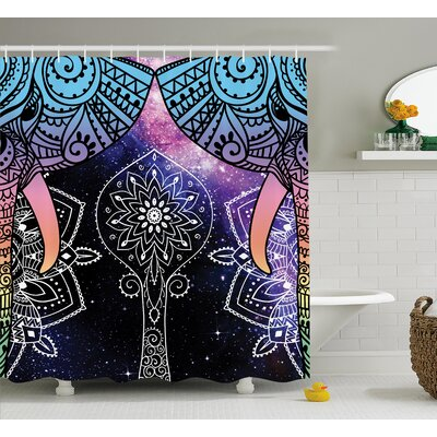 Alep Galaxy Stars Milky Way Print Shower Curtain Size: 69 W x 84 L