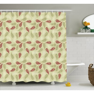 Fitch Floral Leaf Pattern Shower Curtain Size: 69 W x 70 L