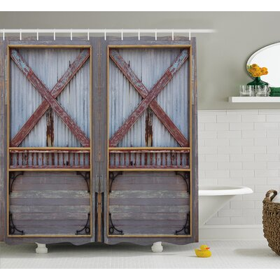 Asuka Wooden Metal Plank Shower Curtain Size: 69 W x 75 L