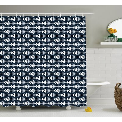 Kaylynn Fish Bone Skeleton Spine Shower Curtain Size: 69 W x 84 L