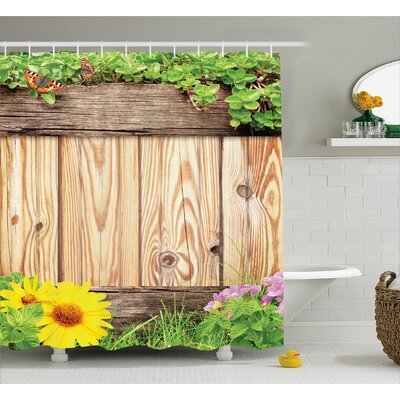 Burnie Garden Fence Butterfly Shower Curtain Size: 69 W x 84 L