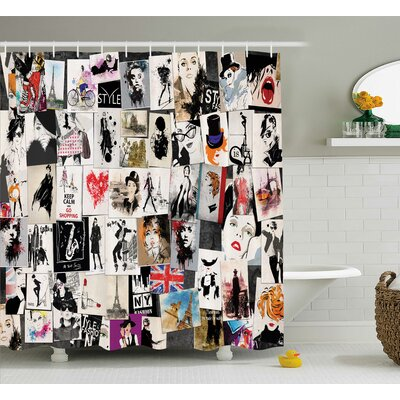 Anika Collage Fashion Trendy Shower Curtain Size: 69 W x 84 L