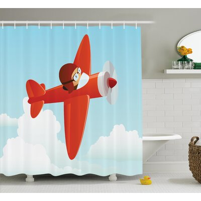 Luther Cute Airplane Flying Cloud Shower Curtain Size: 69 W x 70 L