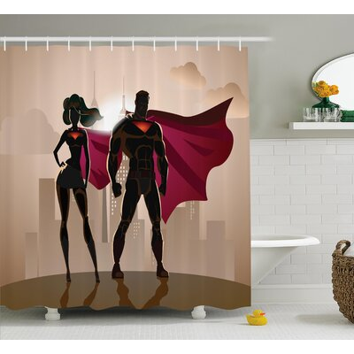 Superhero City Hero Hot Couple Shower Curtain Size: 69 W x 70 L