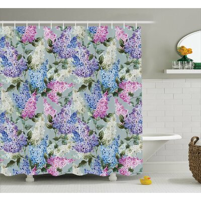 Cohen Floral Garden and Leaf Print Shower Curtain Size: 69 W x 70 L