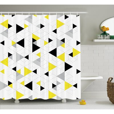 Beau Abstract Triangles Shower Curtain Size: 69 W x 75 L