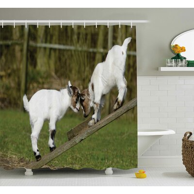 Animal Farm Life with Goats Shower Curtain Size: 69 W x 70 L