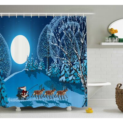 Christmas Santa Winter Forest Shower Curtain Size: 69 W x 75 L