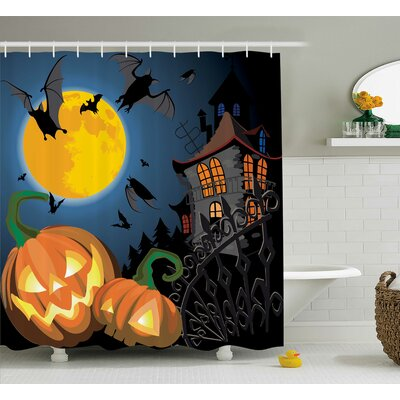 Halloween Decor Moon Pumpkin Shower Curtain Size: 69 W x 84 L