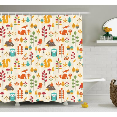 Julian Owl Fox Squirrel Birds Shower Curtain Size: 69 W x 75 L